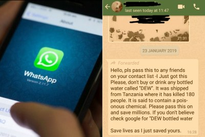 Left: Opening WhatsApp. Right: An example of a chain message sent on WhatsApp debunked using a fact-checking site like Snopes.com