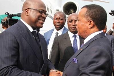 Le Président de la République Démocratique du Congo, Félix Antoine TSHISEKEDI (à gauche) et Le Président de la République du Congo, Denis Sassou Nguesso (à droite)
