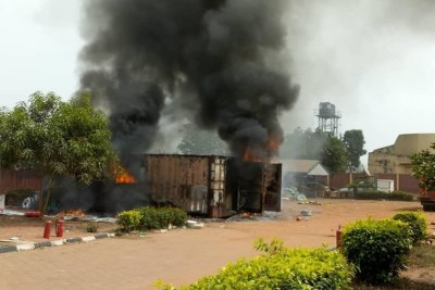 INEC container on fire in Anambra, card readers burnt.