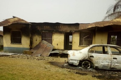 Damaged building that was part of the torched district hospital in Kumba