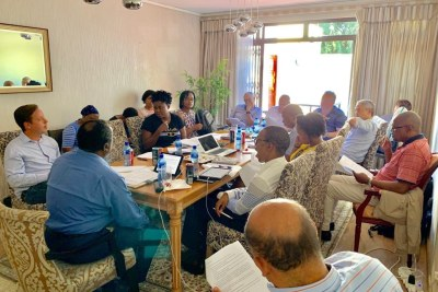 South Africa's national treasury team working on the budget speech on February 17, 2019.