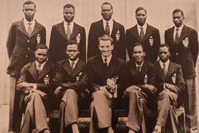 Team Kenya athletes who competed in the 1954 Commonwealth Games. The nine-man track and field team was made up of Korigo Barno (120 yards Hurdles, 4x440 yards), Paul Kipkorir Boit (4x440 yards), Lazaro Chepkwony (3 Mile, 6 Mile), Kiptalam Keter  (4x440 yards, 880 yards), Lenemeria Jonathan  (High Jump), Nyandika Maiyoro  (3 Miles), Kiprono Maritim (High Jump), Musembi Mbathi (4x440 yards) and Maboria Tesot  (Javelin).