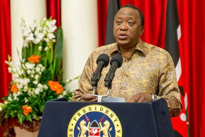 President Uhuru Kenyatta makes an address at the State House (file photo).