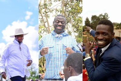 A photo montage of President Museveni, Kizza Besigye and Robert Kyagulanyi better known as Bobi Wine.