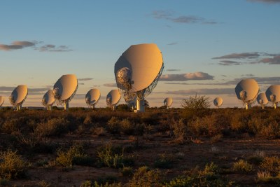 Some of the 64 radio antennas of the MeerKAT telescope in the Karoo, 90km outside Carnarvon.