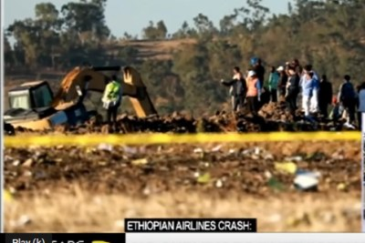 The scene of the Ethiopian Airlines plane crash.