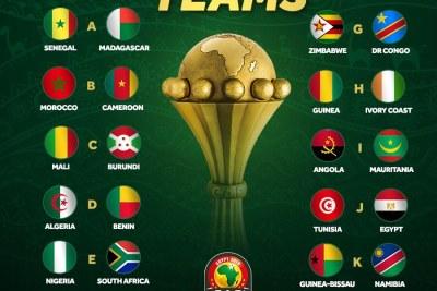 Les 24 pays qualifiés à la CAN 2019