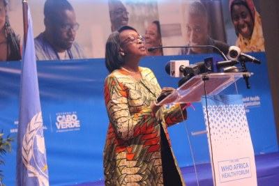 WHO Regional Director for Africa Dr Matshidiso Moeti at the opening of the second Africa Health Forum in Praia, Cape Verde.