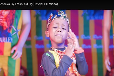 Rapper Fresh Kid, real name Patrick Ssenyonjo in a video.