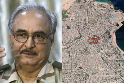 Left: General Khalifa Haftar. Right: Aerial view of Tripoli.