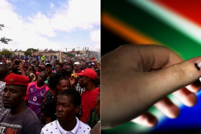 Left: Service delivery protest. RIght: Voter's thumb marked after casting a ballot.