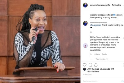 Pokello was was one of the guest speakers at the University of Zimbabwe during an official launch of She Roars Brand, a programme meant to empower young women.