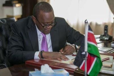 President Uhuru Kenyatta at his office.