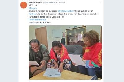 Eritrean diplomat Hadnet Keleta in Washington confirmed on Twitter that Tiffany Haddish obtained her citizenship