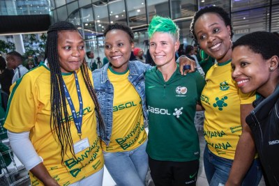 Banyana Banyana team members at the send-off event in Johannesburg.