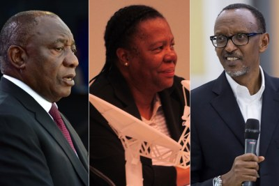 Left: South African President Cyril Ramaphosa. Centre: South African International Relations Minister Naledi Pandor. Right: Rwandan President Paul Kagame.