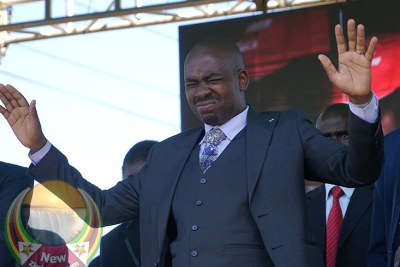 MDC leader Nelson Chamisa deep in prayer (file photo).