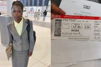 Shantel Nyaboke, 21, who hails from Kisii county, at Istanbul Airport: Right: Her boarding pass.