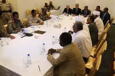 Negotiations between the Transitional Military Council and the Alliance for Freedom and Changein Khartoum on July 4, 2019.
