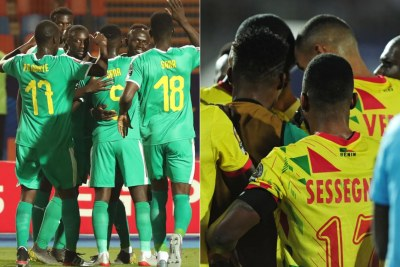 From left: Segenal's and Benin's national soccer teams at the 2019 AFCON in Cairo.