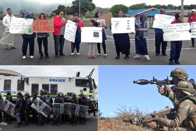 "Top: Residents blockade the entrance to Hanover Park holding posters and chanting ""enough is enough"". Bottom-left: South African police. Bottom-right: SANDF members perform a training exercise."