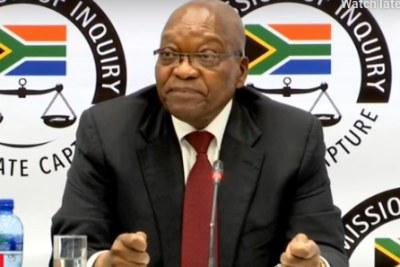 L'ancien président Jacob Zuma à la commission d'enquête Zondo, le 17 juillet 2019.