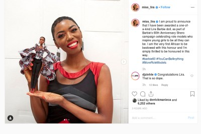 Lira becomes the first African to have a Barbie doll in her honour.