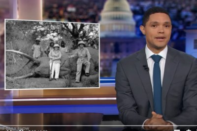 Trevor Noah discusses trophy hunting on the Daily Show.