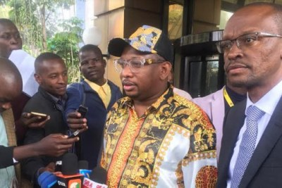 Nairobi Governor Mike Sonko addresses journalists after recording statements at the Ethics and Corruption Commission.