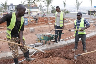 Construction works to upgrade roads in the City of Kigali.