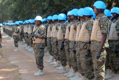 Soldiers in new UN peacekeeping uniforms prior to deploying to the Central African Republic as part of the MINUSCA mission, April 2015.