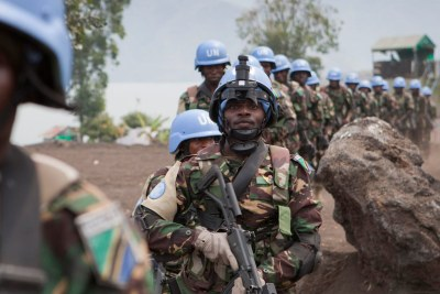 Special intervention brigade forces from Tanzania, part of the UN peacekeeping mission in the Democratic Republic of the Congo (MONUSCO), on duty in Sake, North Kivu (July 2013).