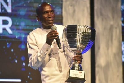 Eliud Kipchoge speaks after he was crowned the Sports personality of the Year at the Soya gala in Mombasa on January 24.