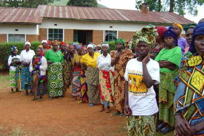 Rape victims who have been successfully reintegrated into their communities assemble in a