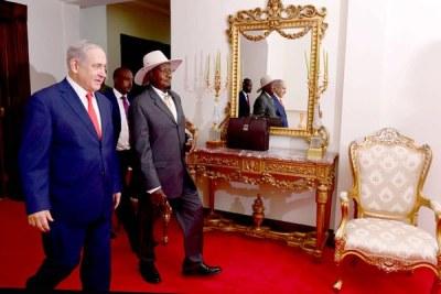 Israel Prime Minister Benjamin Netanyahu and Ugandan President Yoweri Museveni held talks in Uganda on February 3, 2020.