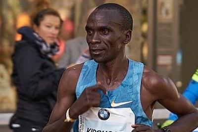 Eliud Kipchoge at the Berlin-Marathon in 2015.