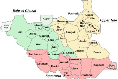 The 32 states of South Sudan in 2017.