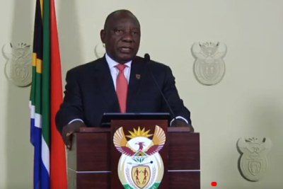 South Africa's President Cyril Ramaphosa announcing