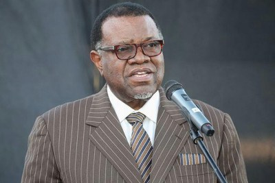 President Hage Geingob announcing a 21-day partial lockdown to curb the spread of the Coronavirus.