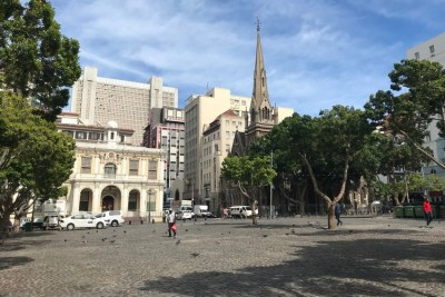 Greenmarket Square in Cape Town, usually a vibrant place for tourist trinkets, was deserted on Tuesday - two days before the national COVID-19 lockdown.