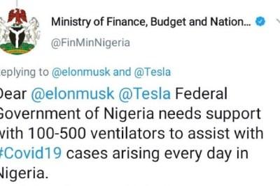 Nigerians Embarrassed As Ministry of Finance Begs Elon Musk, Tesla for Ventilators On Twitter