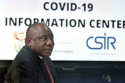 President Cyril Ramaphosa visits the Department of Health (DoH)'s COVID-19 Information Centre, a data centre set up to monitor and track the spread of COVID-19 in the country. The centre is housed in a secure facility at the Council for Scientific and Industrial Research (CSIR) in Pretoria and from where it provides close to real-time analytics, dashboards on the coronavirus outbreak per province, district, local municipality and ward.