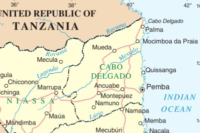 A map of Mozambique, showing Cabo Delgado.