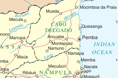 A map of Mozambique, showing Mocimboa da Praia.