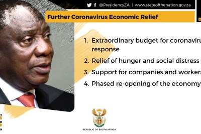 A South African government Twitter image, outlining an economic package announced on April 21, 2020.