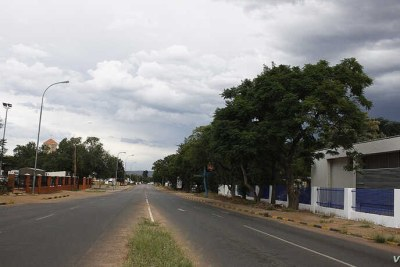 An empty street is seen during a nationwide lockdown, to help prevent the spread of COVID-19, in Botswana.
