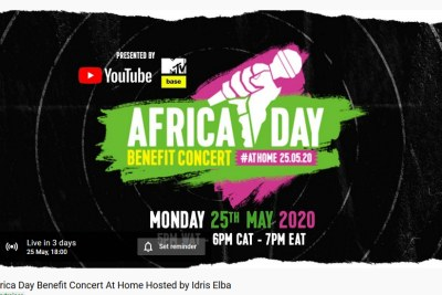 The YouTube page for the May 25, 2020 Africa Day Benefit Concert at Home.