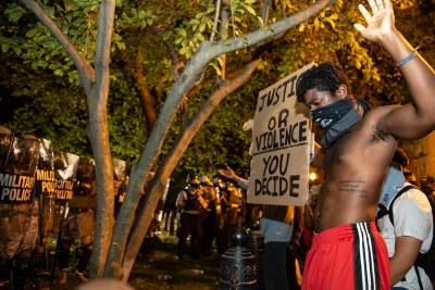 Manifestations liées à la mort de George Floyd à Washington DC. Lafayette Square le 30 mai 2020.