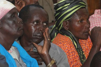 Petitioners follow proceedings in Nakuru High Court during the mention of an application seeking orders to stop their eviction by the government from the Maasai Mau Forest (file photo).