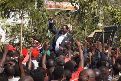 Opposition Malawi Congress Party leader Lazarus Chakwera addresses protesters in Blantyre, July 25, 2019.